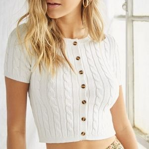 NWT Cable Knit Button-Front Crop Top